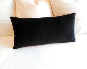 VELVET PILLOW black cotton velvet lumbar bolster pillow 13x26