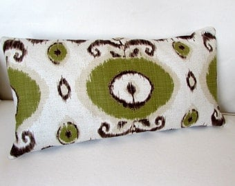IKAT at its best ivory green brown large sofa pillow 13x26 with insert