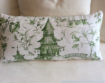 PAGODAS in jade green 13x26 pillow, includes insert