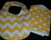yellow Chevron and polka dot flannel with  chenille backing
