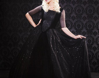 Fantasy Gothic Marie Antoinette Carriage Gown with Overskirts Custom Upscale Halloween Costume