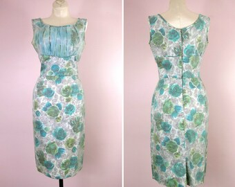 1950s Floral Shelf Bust Wiggle Dress Size S