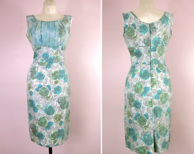 1950s Floral Shelf Bust Wiggle Dress Size S