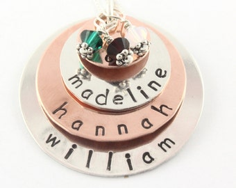 Copper Sterling Silver Mixed Metal Birthstone Necklace - Custom Personalized Hand Stamped Gift for Moms
