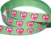 Printed Heart Ribbon, Stacked Heart Ribbon, Baby Shower Ribbon, Wedding Favor Ribbon, Ribbon by the yard, DIY wedding ribbon