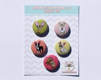 Chihuahua Magnet Set With Pug, Boston Terrier, Frenchbulldog & Dachshund