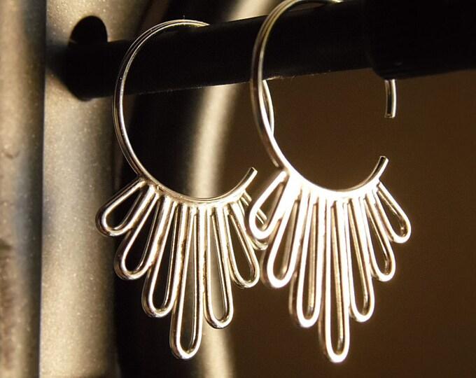 Flower Petal Hoop Earrings in Sterling Silver
