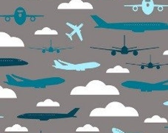 Aviator minky fabric by the yard for Airplane fabric by the yard