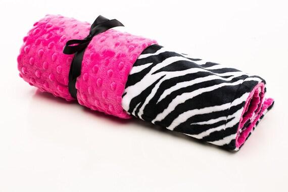 Baby Girl Blanket, Girl Receiving Blanket, Mimis, Minky Blanket, Zebra, Hot Pink, Safari, Animal Print