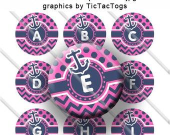Sailor Girl Pink Navy Anchor Polka dot Chevron Alphabet Bottle Cap Images Digital Collage 1 Inch A-Z - Instant Download - BC396