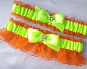 Orange Lime Green Garter Set Rhinestone Accent Bridal Garter Set Wedding