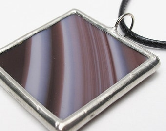 Lines of Violet - Stained Glass Pendant with Black Cord