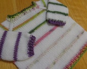 Hand knit striped baby sweater