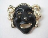 Shabby Face Brooch Black Gold Mask Pin Vintage