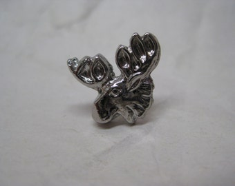 Moose Silver Tie Tack Brooch Vintage Pin