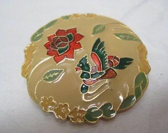 Flower Bird Brooch Tan Red Gold Vintage Pin