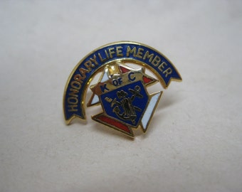 K Of C Tie Tack Honorary Life Member Gold Vintage Pin
