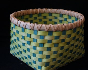 Hand Woven Basket in Chartruese and Dark Turquoise.  Storage basket. Basket.   Hand made baskets in fun colors!
