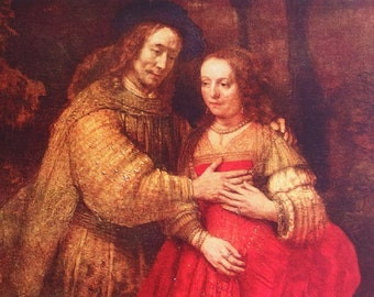 The Bridal Couple by Rembrandt - a Frameable Vintage 1953 Art Print