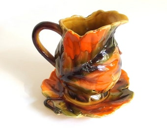 Vintage 1970's Footed Creamer and Saucer - Autumn Leaves Relpo 6276