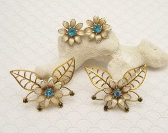 Rhinestone Butterfly Brooch Earrings Set Forties Vintage Jewelry Bugbee Niles S6115