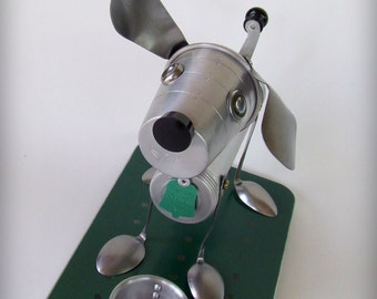 Dog sculpture art assemblage ooak art