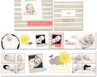 Sunshine Gal 3x3 Accordion Photo Album for a Newborn, Child, or Family Client- 4 Files- Photoshop Templates for Photographers- AM0002