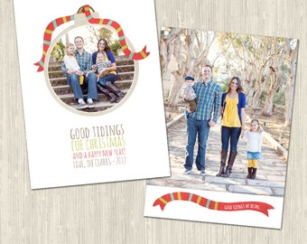 Christmas Whimsy Holiday Photo Card   Photoshop Templates for Photographers   Instant Download   CS6002a