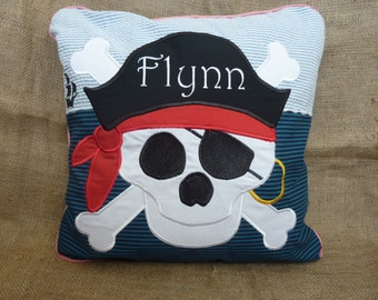 Personalised with any name;  'Pirate' cushion, colourful, bright, cotton