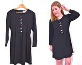 Black Babydoll Dress - Little Black Dress - Black Floral Dress