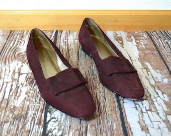 Maroon Bow Flats 9 9.5 - Womens Shoes Size 9.5 - Kitten Heel Shoes