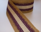 2 inch Natural and Ivory Burlap with VIOLET Lace Ribbon - 3 yards
