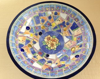 Mosaic Bowl Blue White and Yellow China Shards