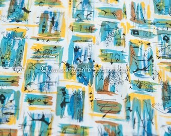 Colorful Cave Drawings- Vintage Fabric New Old Stock 36 in wide Prehistoric Historical