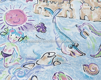 Fun Day at the Beach - Vintage Fabric New Old Stock Novelty Ocean Animals Kids Octopus Shells