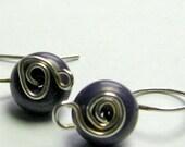 FEB. SALE Tiny Purple Stone Button Earrings Howlite Sterling Silver Wire Wrapped Minimalist Casual Earrings E528 (WERE 15.00)