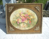Vintage Gold Ornate Florentine Frame with Hand Painting Floral Wall Art by Lois Schmidt