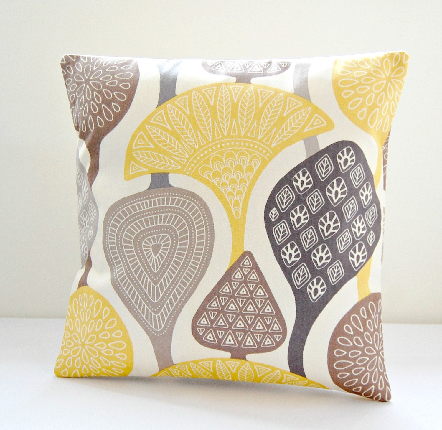 Vintage Inspired Throw Pillows : cushion cover yellow gray taupe retro style decorative pillow