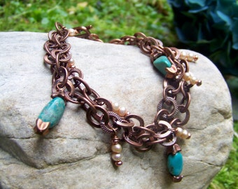 Award Winning Copper and Turquoise Bracelet
