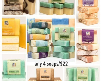 SPECIAL: 4 Soap Bars of Your Choice. Natural/ Handmade/ Artisan/Palm Free Soap. Generous 4.5 oz  Vegan Bar. Pure Essential Oils.