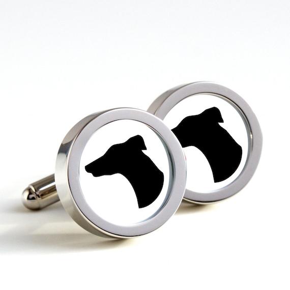 Greyhound Dog Silhouette Cufflinks Mens Cufflinks by ialbert