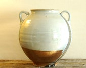 Rustic Pot Tuscan style wheel thrown soda fired with rutile blue glaze drips