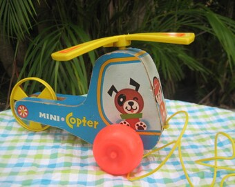 Vintage Fisher Price Wooden Helicopter Pull Toy