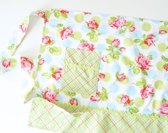 Half Apron - Falling Roses Floral Wrap in White Green and Blue