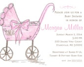Digital Baby carriage custom personalized invitation baby shower pink carriage baby girl invitation