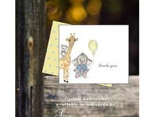 Custom handmade  hand drawn watercolor baby  animals notecards original art elephant giraffe bear thank you