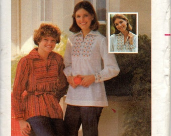 Butterick 4964 1970s Misses BOHO Top and Embroidery Transfer Pattern Womens Vintage Sewing Pattern Size 10 Bust  32 UNCUT