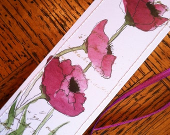 Watercolor  Bookmark  Purple Poppies w/free shipping