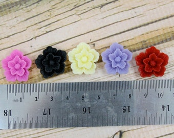 CLOSEOUT BULK LOT - Forty (40) Pieces Mixed Colors 22mm Sakura Resin Floral Flower Cabochons - Red, Pink, Purple, Black, White