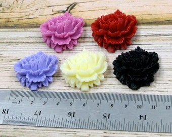 CLOSEOUT BULK LOT - Thirty (30) 45mm Large Vintage Rose Resin Floral Flower Cabochons - Red, Pink, Purple, Black, White